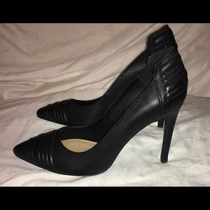 Ribbed Stiletto Court Black Leather Point Toe Heel